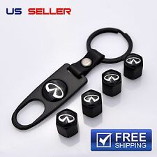 INFINITI VALVE STEM CAPS + KEYCHAIN WHEEL TIRE BLACK - US SELLER VS31