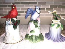 Vintage Avon Collectible Bells, Blue Jay,Cardinal, Hummingbird Porcelain, All 3