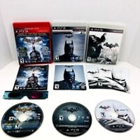 Batman Arkham Asylum Arkham Origins Arkham City PS3 Lot With 3D Glasses