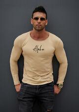 "Beige Long Sleeve Mens T-shirt ""Alpha"" Slim Fit Longline White Army Green 948"