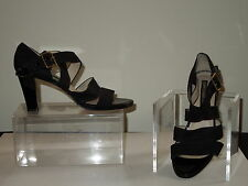 REFURBISHED Larry Stuart Strappy Black Linen/Patent Strappy Sandals Italy 7M