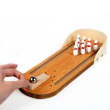 Mini Desktop Bowling Game Set Wooden Bowling Alley Ten Metal Pin Ball Desk Toys