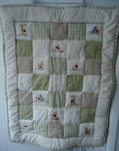 DISNEY/ KIDSLINE Winnie the Pooh Quilt Patchwork Green Gingham Cream Baby