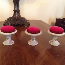 Limoges Pin Cushion - Velvet Top + Limoge Base With Floral Pattern x 3 Cushions