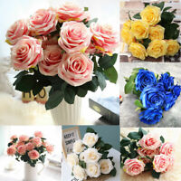 10 Heads Silk Rose Artificial Flowers Fake Bouquet Wedding Home Party Decor SP