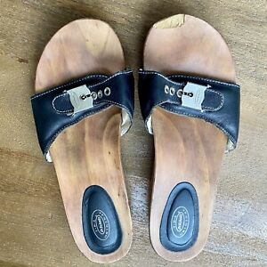 Original Dr Scholls Wooden Slide Sandals Black Size 8