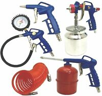 Air Compressor 5 Piece Kit Tyre Inflator Spray Gun Degreaser Blower & Hose Line
