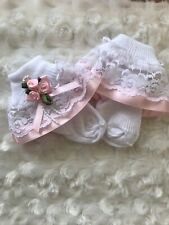 White Frill Lace Baby Socks with Pink Ribbon Pearl Rosebud Trim size 3-6 Months
