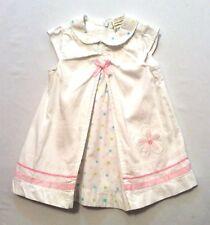 Laura Ashley Polka Dot Collar & Pleat Inset Flower White Ribbed Cotton Dress, 6m