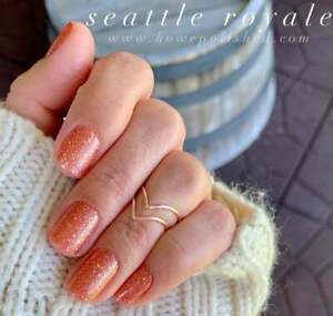 m9L3GoColorStreet SEATTLE ROYALE Nail Strips NEW Coral Glitter **+TWOSIE**