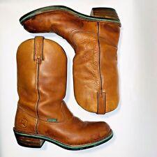 Mens 10 M John Deere Steel Toe Vibram Sole Nonslip Western Brown Work Boots