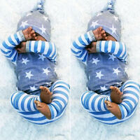 US Newborn Baby Boy Girls Tops T-shirt Pants Leggings Hat Striped Outfit Clothes