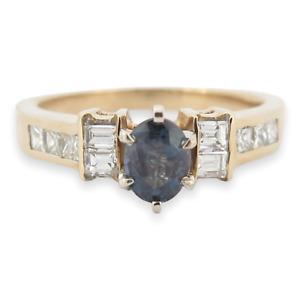 .Vintage Natural Alexandrite & Diamond 14k Yellow Gold Ring Size O Val $11000