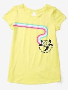 New Justice Girls Top 8 year Sea Turtle Keep The Sea Plastic Free Soft Tee