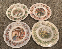RARE HTF ROYAL DOULTON Brambly HEDGE 4 PLATE Season Set - Collector Items MINT