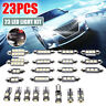 23Pcs LED White Car Inside Light Dome Trunk License Plate Lamp Interior Bulb