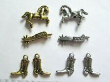 Lot Charms Horse Cowboy Boots Spurs Jewelry Making Craft Beads Silver Gold tone