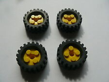 Lego 4 roues jaune set 4258 9287 3226 4254 / 4 yellow wheels