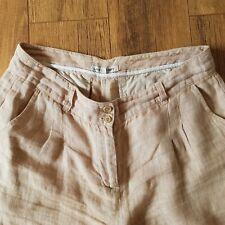 LAURA ASHLEY Beige Stone Soft  Wide Leg 100% Linen Trousers Size 12 UK Summer