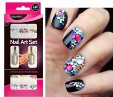 Nail Art Set 240 Gems and 2x 4ml Clear Varnish