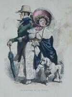 Incisione Solleva Il Renna E la Sua Donna Guillaumot C.1841