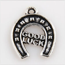 "42Pcs ""Good Luck""Horse shoe Tibetan Silver Pendants Making Findings EIF0100"