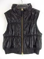 MOSCHINO Cheap And Chic Lamb Leather Puffer Vest w/ Stow Hood Black Sz 10