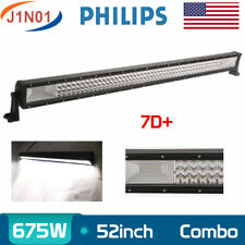 Tri Row 52Inch 675W LED Work Light Bar Flood Spot 4X4WD Driving Lamp Philips 7D+