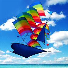Huge 3D Rainbow Sailboat Flying Kite Outdoor Sports Children Kids Game Activity