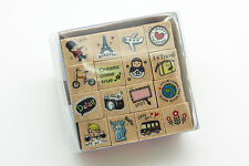 Set of 16 Pcs Journey Diary Wood Rubber Stamp Scrapbook Card Making Travel Note