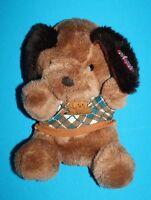 "Dan Dee DOG 9"" Brown Plush Green Sweater Soft Toy Tags MTY Int'l Stuffed Animal"