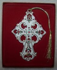 Lenox Ornament Embellished Cross 2004 Gem stones Pearls New in Box