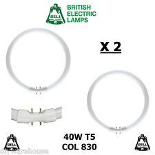 2 X BELL T5 CIRCULAR FLUORESCENT TUBE T5 40 WATT COL 830 2GX13 WARM WHITE BNIB