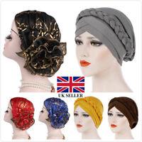 Women Muslim Cap Stretch Chemo Hair Loss Pleated Turban Hat Hijab Head Wrap UK