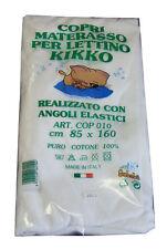 """COPRIMATERASSO LETTINO """"KIKKO"""" SPUGNA COTONE 100% CON ANGOLI E ELASTICI 85X160CM"""