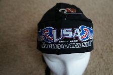 New Authentic Harley Davidson Do Rag Skull Cap Bandana Hat Black 1903 USA Wings
