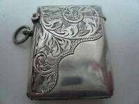 Silver Vesta Case, Sterling, Antique, Matchsafe, English,Hallmarked 1911