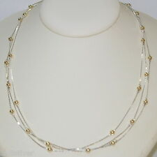 """18"""" Sterling Silver 925 Chain with Gold Filled Beads 3 Strands Two Tone NECKLACE"""