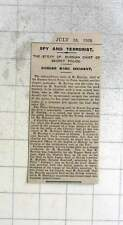 1909 M Harting Chief Of Russian Secret Police In Paris, Spire, Terrorist