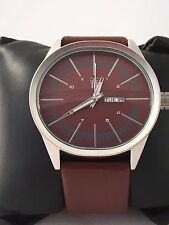 Fenchurch Gents Watch Large Oval Brown Dial Date Window Brown Leather Strap