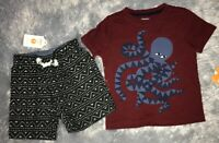 Gymboree boys size 12-18 months Burgundy tee octopus 🐙 Aztec print shorts