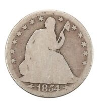 Raw 1854 Seated Liberty 50C W/ Arrows Circulated US Silver Half Dollar