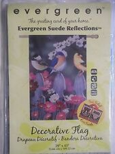 """NEW EVERGREEN SUEDE TWO SIDED""""PICKET FRIENDS""""BIRDS/FLOWER/FENCE LARGE FLAG 29x43"""