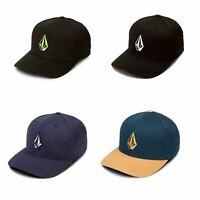 Volcom Full Stone Xfit Cap in Black & Embroided Logo D5511105