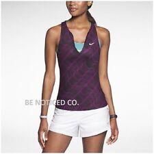 Nike Women's Print Pure Tennis Tank Top XS Purple Black Sleeveless Gym New