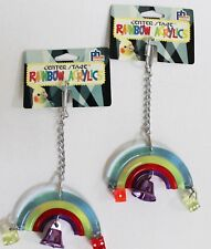 NEW Lot of 2 Acrylic Rainbow Dice Bell Small Medium Large Pet Bird Cage Toys