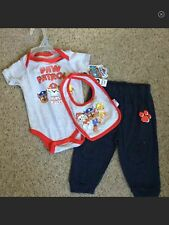 Baby Boys 3 Pc Set Red Gray Navy Paw Patrol Pups Rule Shirt Pants Bib 3/6Mo