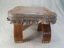 Camel Saddle Wood Stool Ottoman Foot Stool Leather To Be Refurbished