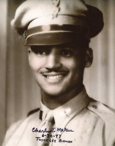 CHARLES MCGEE SIGNED AUTOGRAPHED 8x10 PHOTO TUSKEGEE PILOT WWII HERO BECKETT BAS