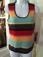ONE GIRL WHO Multi-Color 100% Cashmere Striped Sleeveless Shell Sweater Vest M